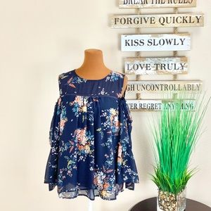LUCKY BRAND   Floral Cold Shoulder Peasant Blouse